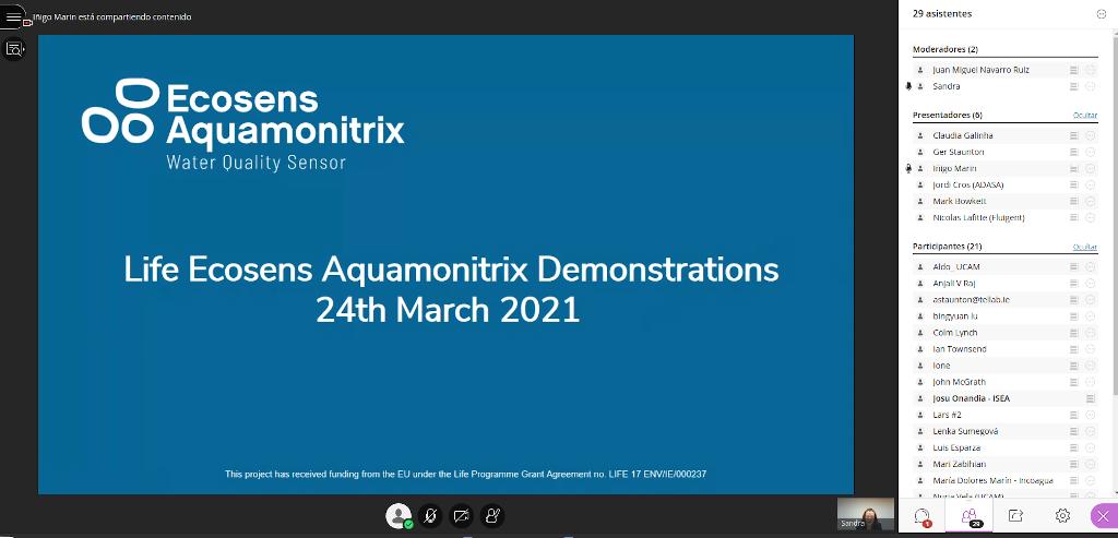 Presentation iBATHWATER in LIFE Ecosens Aquamonitrix Project Workshop